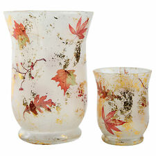 Autumnal Pattern Glass Tea Light Candle Holders for the Home