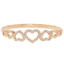 Rose Gold Plated Clear CZ Heart Love Hinged Bangle Women Bracelet