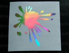 Large Paint Splat Silver Hologram Neo Chrome Car Wall Art Vinyl Stickers Decals