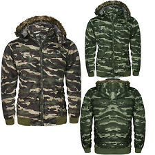 UNISEX KIDS CAMO JACKET PADDED HOOD QUILTED REMOVABLE HOOD MILITARY BOMBER COAT
