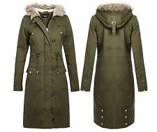 Ladies Womens Oversized Hood Long Maxi Length Front Zip&Button Parka Jacket Coat
