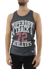 Superdry Hombres Del Tanque TRACKSTER CHALECO Azul marino Grit