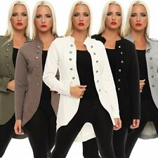 10875 Damen Jacke Longjacke Mantel Long-Blazer Army-Look Military-Style