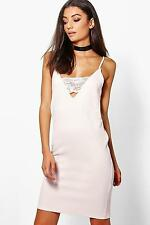 Boohoo Womens Tall Searra Textured Lace Plunge Bodycon Dress