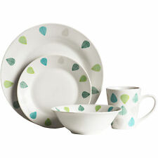 16 Or 32 Piece Green Leaves Porcelain Dinner Serving Plates Bowls Cups Mugs Set
