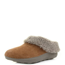 Womens Fitflop Loaff Snug Chestnut Brown Tan Suede Fleece Lined Slippers Size