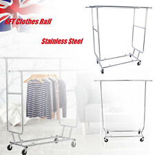 HEAVY DUTY STEEL GARMENT RAIL CLOTHES RACK HOLDER HANGER HOME SHOP DISPLAY 6ft