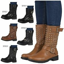 WOMENS LADIES WORKER COMBAT BIKER MILITARY FLAT ZIP ANKLE BOOTS SHOES SIZE NEW