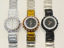 NEW GENEVA 2,TWO TONE BLING GLITZ ALL OVER CRYSTALS ON BEZEL & BAND FANCY WATCH