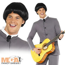 Beatles Costume + Wig Mens 1960s Fancy Dress Celebrity 60s Costume Adult Outfit