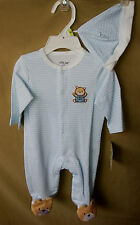 LITTLE ME 100% COTTON Light Blue BABY BEAR Footie w/Matching Hat UNISEX NWT