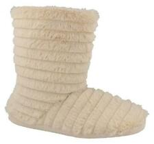New Ladies Cream Faux Fur Boot Slippers Size 3-4 5-6 7-8 Spot On Ribbed Pattern