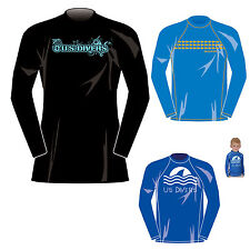 U.S. US DIVERS KIDS CHILDRENS RASHGUARD UPF 50+ LONG SLEEVE BEACH TOP AGE 4-16yr