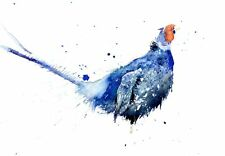 JEN BUCKLEY signed LIMITED EDITON wildlife art PRINT of original blue PHEASANT