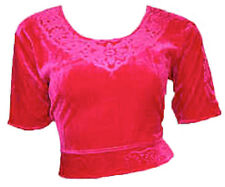 Rose Velours Top Choli pour Sari Style Bollywood Taille S à 3XL