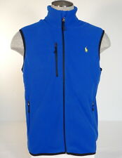 Polo Ralph Lauren Blue Zip Front Fleece Vest Yellow Polo Pony Mens NWT