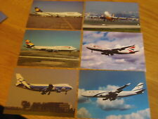 13 x Colour postcards of airlines that operated B747-400 aircraft