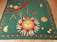 VINTAGE HAND STITCHED SILK SCARF.  THE PLANETS!  MINT.  21 x 20 INCHES.  UNUSUAL
