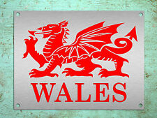 Metal Sign WALES Welsh dragon red metallic decorative tin wall plaque gift