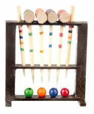 Miniature Croquet Game Set Handcrafted Wood 1:12 Scale Dollhouse Miniatures