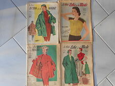 4 Vintage FRENCH FASHION MAGAZINES PAGES : Le Petit Echo de la MODE 1950's