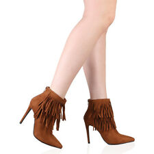 Womens Lace Up Pointed Toe Fringes Zipped Ankle Boots In Brown Faux Suede UK 3-8
