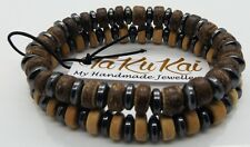 "Mens Beads Bracelet 7.5"" Stretch Coconut Hematite Bracelets Jewellery By TaKuKai"