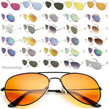 Classic Retro Metal Pilot Teardrop Sunglasses Men Ladies Black Mirror Color Lens