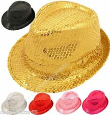 Trilby Hat Gangster Hat Sequin Glitter Hat  Fancy Dress Gold Silver Black  HAT