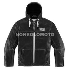 Giacca Icon 1000 Pelle The Hood Nero moto Strada Scooter Naked