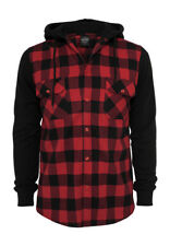 Urban Classics Hooded Checked Flanell Sweat Sleeve Shirt TB513 Black Red Black