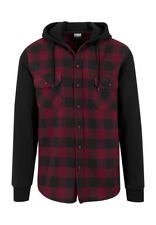Urban Classics Hooded Checked Flanell Sweat Sleeve Shirt TB513 Black Burgundy Bl