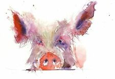 JEN BUCKLEY signed LIMITED EDITON art PRINT of my original hairy PIG watercolour