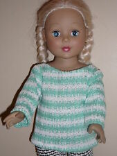 Mint Green & White Stripe Sweater for 18