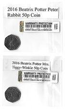50p Coins BEATRIX POTTER 150th ANNIVERSARY 2016 Mrs Tiggy-Winkle & Peter Rabbit