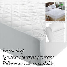 """QUALITY QUILTED FITTED MATTRESS PROTECTOR COVER EXTRA DEEP BED BOX 12"""" 30CMS"""