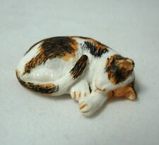 Dollhouse Miniature Sleeping Calico Cat Pet 1:12 Scale Miniatures for Doll House