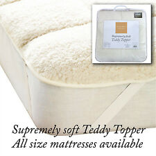 LUXURY SUPER SOFT TEDDY MATTRESS TOPPER SOFT THICK FLUFFY COMFORTABLE QUALITY