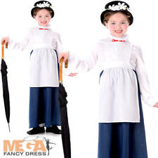 Victorian Nanny + Hat Girls Fancy Dress World Book Day Childrens Childs  Costume