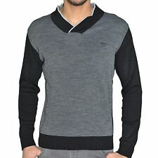 ARMANI JEANS - PULL FIN - COL CHALE - HOMME - SWEATER COTON 07 CHALE - GRI NEUF