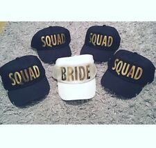 BRIDE SQUAD Baseball Caps White/Black Caps with Gold/Silver Print Single or Pack