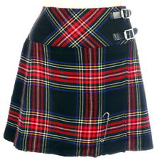 New Ladies Black Stewart Tartan Scottish Mini Billie Kilt Mod Skirt Sizes 6-22UK