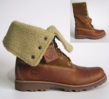 """Junior Boys Timberland 6"""" 6 inch Roll Top Shearling distressed Leather Boots 5"""