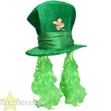 GREEN ST PATRICK'S DAY HAT WITH ATTACHED HAIR + SHAMROCK IRISH SUPPORTER LOT