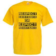 Mens Respect Existance Yellow T-Shirt AntiFracking Protest Peoples Movement