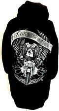 """EAGLE """"LIVE TO RIDE"""" HOODIE HOODS GRAPHIC SWEAT BLK LONG SLEEVE FULL FRONT ZIP"""
