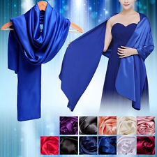 Wedding Women Satin Long Scarves Bridesmaid Prom Shawl Stole Wrap Scarf Party UK