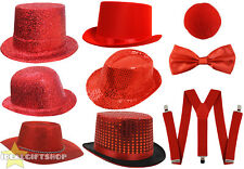 RED NOSE DAY COMIC RELIEF HAT + ACCESSORY SET CHOOSE YOUR HAT QUALITY NOVELTY