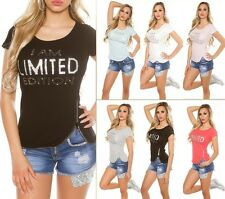 """Sexy Shirt Top T-Shirt """"I AM LIMITED EDITION"""" Strass"""