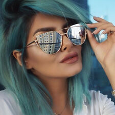 Quality Womens Fashion Oversized Metal Frame Mirror Lens Cat eye Sunglasses